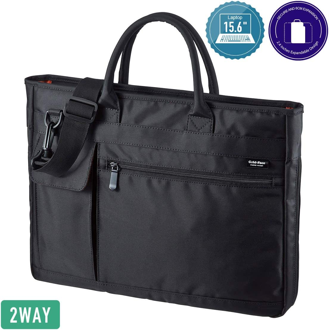 SANWA 15.6-inch Laptop Computer & Tablet Bag, Expandable Business Briefcases with Organizer, Shoulder Bag with Strap, Lightweight Handbag, Compatible with MacBook Dell Lenovo Notebook, for Men/Women