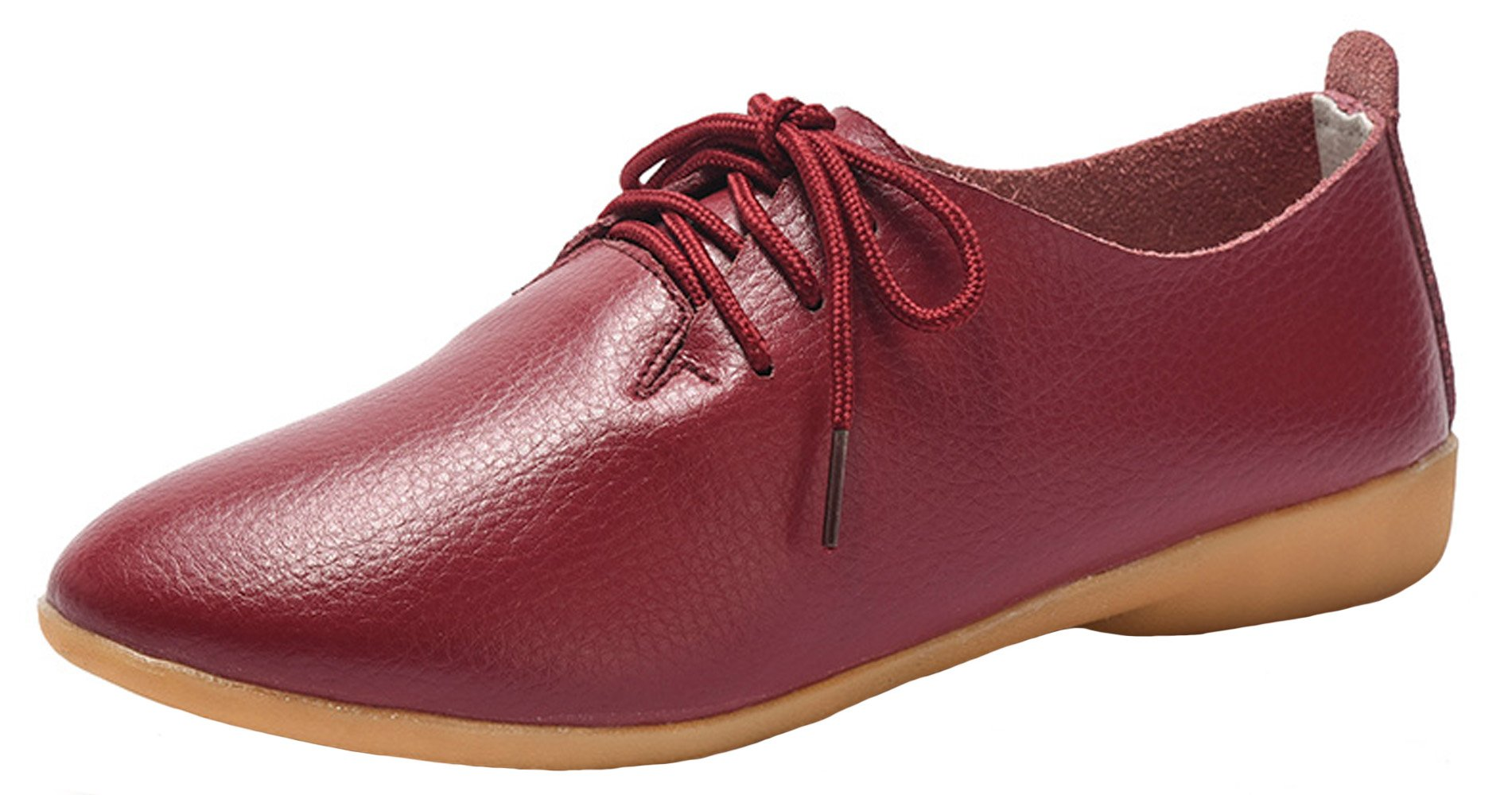WUIWUIYU Women's Leather Lace-Up Oxfords Shoes Casual Comfort Walking Driving Flats