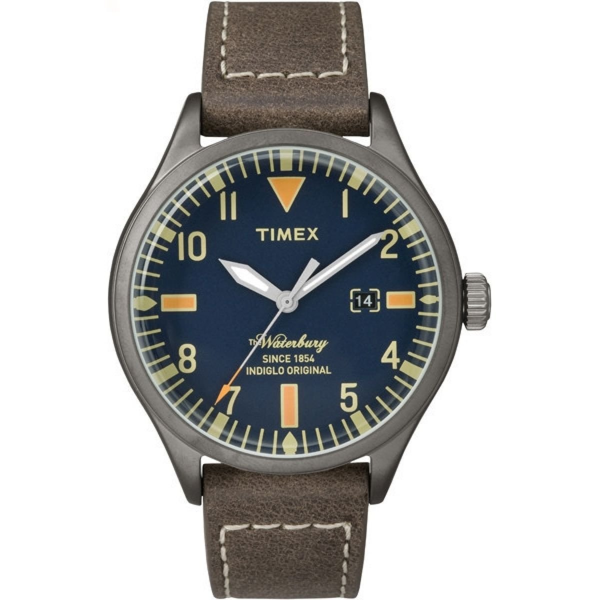 Timex 'Waterbury' Quartz Stainless Steel and Leather Dress Watch, Color: Brown (Model: TW2P83800ZA)