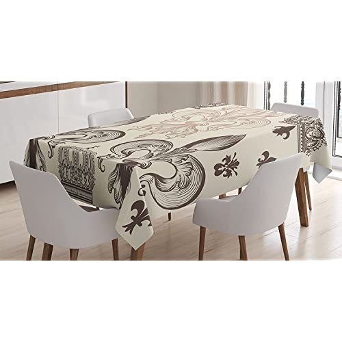 Attirant Fleur De Lis Decor Tablecloth By Ambesonne, Heraldic Pattern With Fleur De  Lis And Crowns