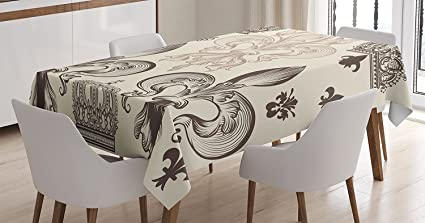 Fleur De Lis Decor Tablecloth by Ambesonne, Heraldic Pattern with Fleur de  Lis and Crowns Tiara Iris Flowers Coat of Arms Knight, Dining Room Kitchen  ...