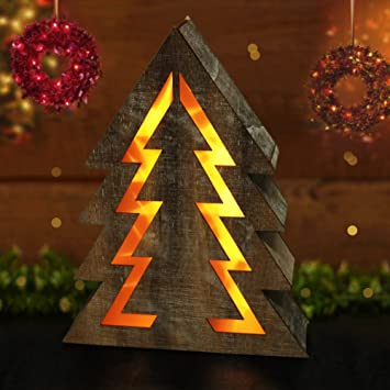 Marvelous BRIGHT ZEAL Wooden Christmas Tree With LED Lights (14.5u0026quot; Tall Christmas  Tree Shape,