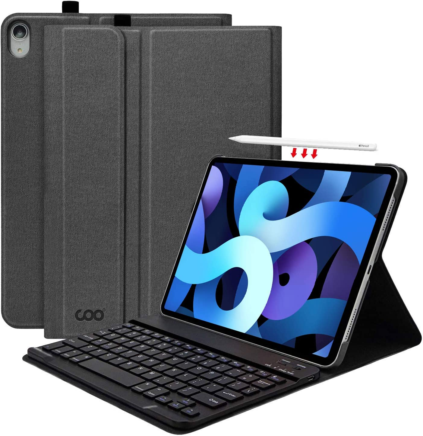 New iPad Air 4th Generation 10.9 Keyboard Case 2020, iPad Air 10.9 Case with Magnetic Detachable Keyboard for New iPad Air 4th Gen