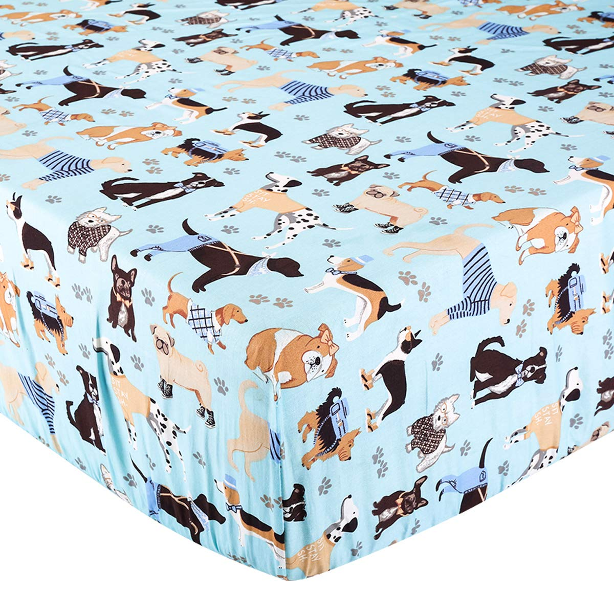 Crib Sheet UOMNY 100% Natural Cotton Baby Coverlet Toddler Sheet Set for Baby Boys and Girls 1 Pack Dog