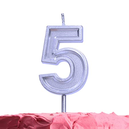 Get Fresh Velas de cumpleaños de 5 años, Velas Plateadas ...