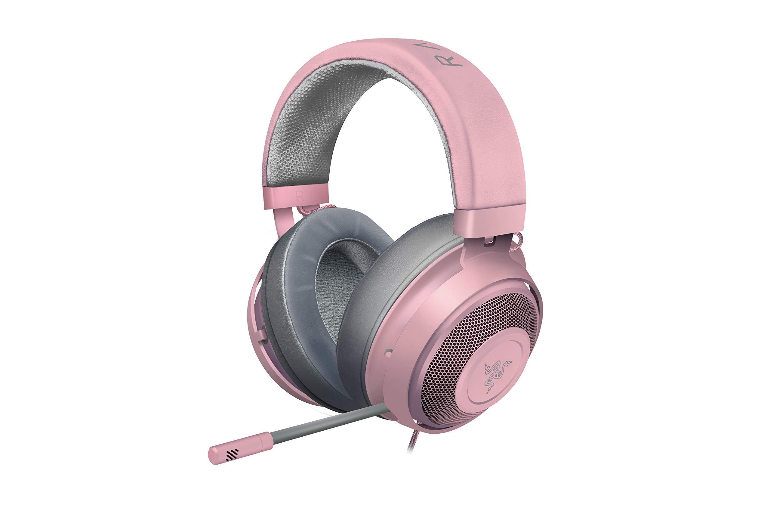 Razer Kraken Gaming Headset 2019: Lightweight Aluminum Frame - Retractable Noise Cancelling Mic - for PC, Xbox, PS4, Nintendo Switch - Quartz Pink (Renewed) by Razer