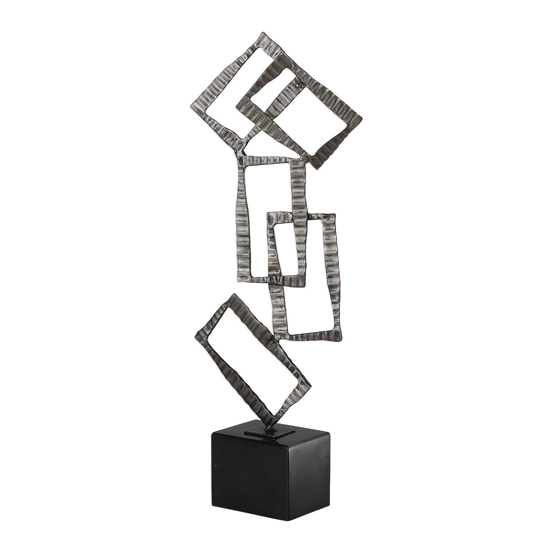 モダンアート抽象Stacked長方形彫刻シルバーブラックStatueメタル大理石 B077MN3Q82