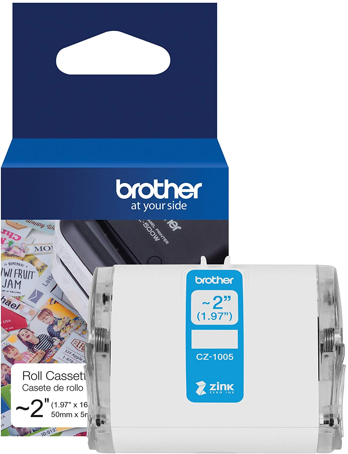 "Brother Genuine CZ-1005 Continuous Length ~ 2 (1.97"") 50 mm Wide x 16.4 ft. (5 m) Long Label roll Featuring Zink Zero Ink Technology : Office Products"