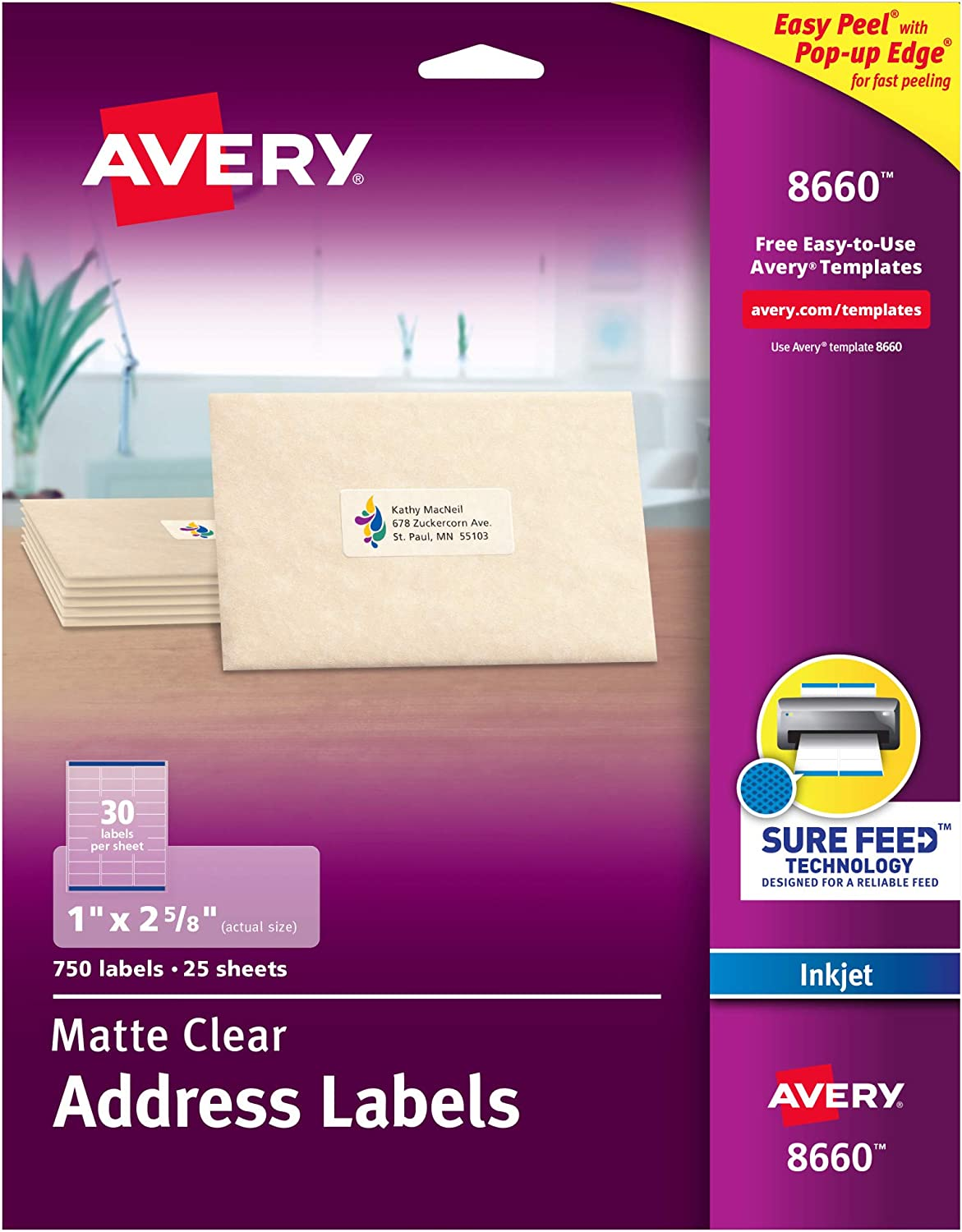 Avery Clear Address Labels for Inkjet Printers with Sure Feed, 1