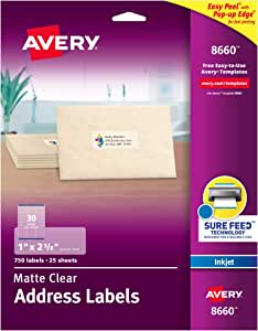 """Avery Clear Address Labels for Inkjet Printers with Sure Feed, 1"""" x 2-5/8"""", 750 Frosted Holiday Labels (8660)"""