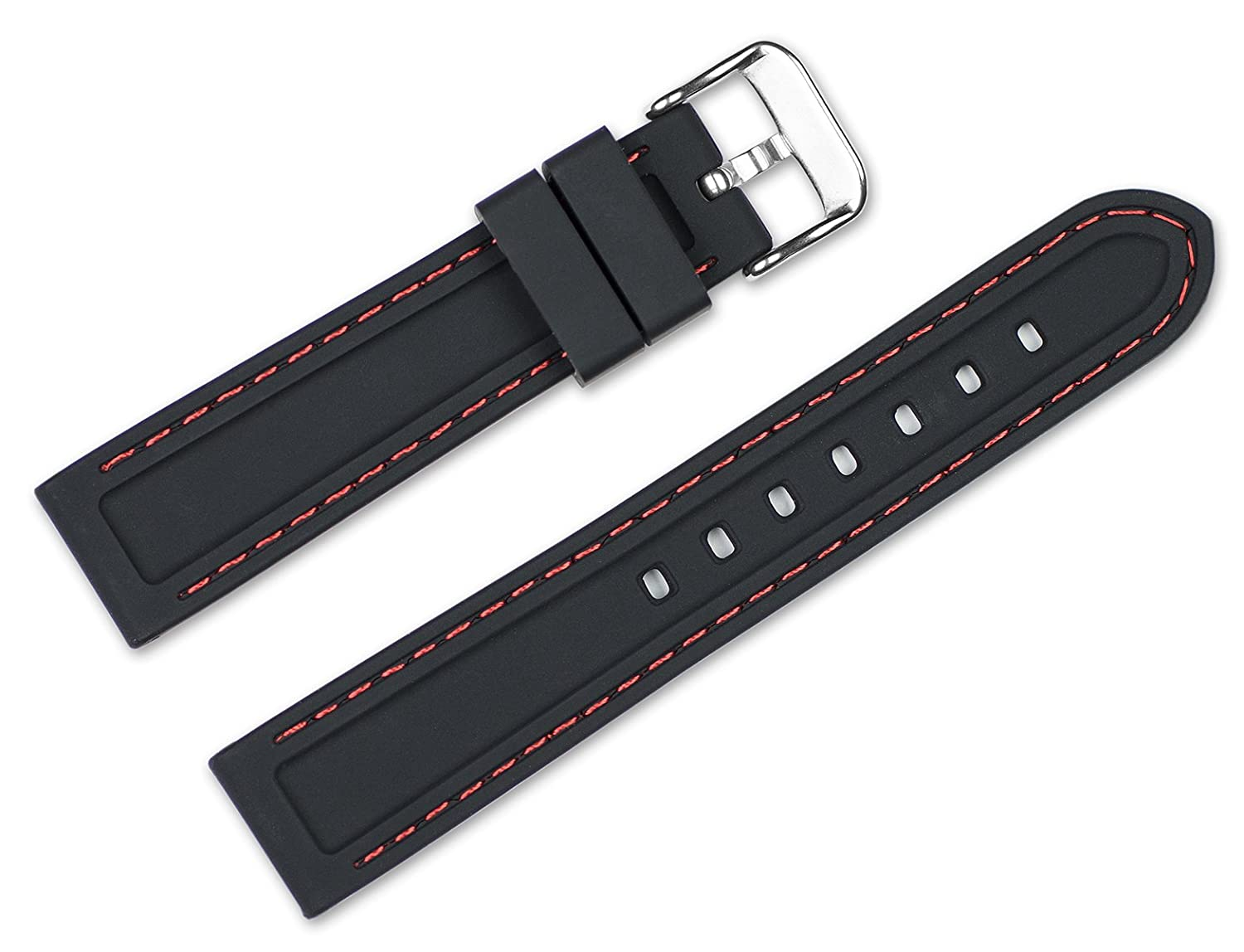 d7aa9499f12 24mm Replacement Rubber Watch Band - Silicone Rubber - Black w red  stitching Watch Strap