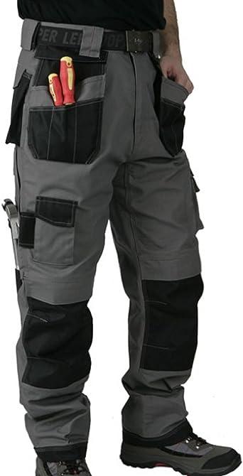Lee Cooper Ropa De Trabajo Para Hombre Pantalones Pesados Varios Bolsillos Y Bolsillos Para La Rodilla Color Gris Y Negro Amazon Es Ropa Y Accesorios