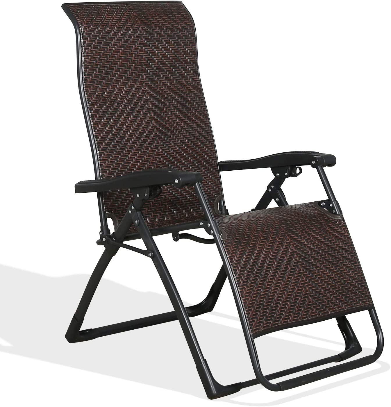 Homall Wicker Zero Gravity Chair Patio Folding Recliner Adjustable Portable Rattan Lounge Outdoor Chair for Lawn Poolside Yard Camping and Fishing