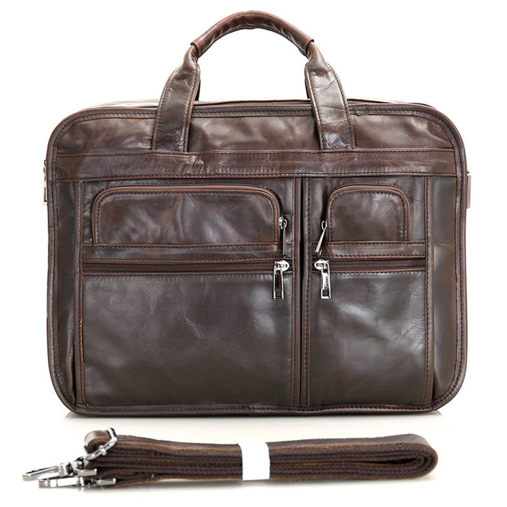 MuLier 15'5 inch Laptop Bag, Men's Top Genuine Leather Handmade Briefcase Shoulder Messenger Business Bag MB0037-Chocolate