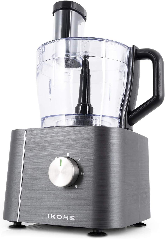 IKOHS KUTCREW - Procesador de Alimentos, Robot de Cocina Multifunción, Picadora, Batidora, Amasadora, Ralladora, 1100W, Bol Procesador 2L, 10 Modos, 3 Velocidades, Cuchillas de Acero Inoxidable (Gris): Amazon.es