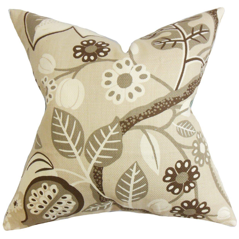 The枕コレクションstd-d-42114-ivory-c100ブラウンPrysフローラル寝具シャム、標準/ 20