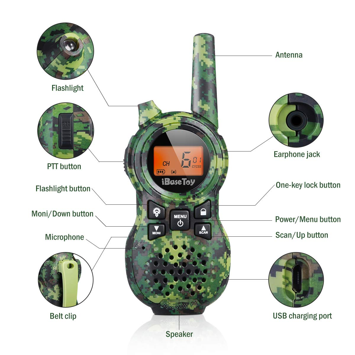 iBaseToy Walkie Talkies for Kids, Rechargeable Walkie Talkies with 22 Channels, 4-Miles Range Radio with Flashlight, LCD Screen and Charging line for Outdoor Adventures, Camping, Hiking - 2 Pack by iBaseToy (Image #3)