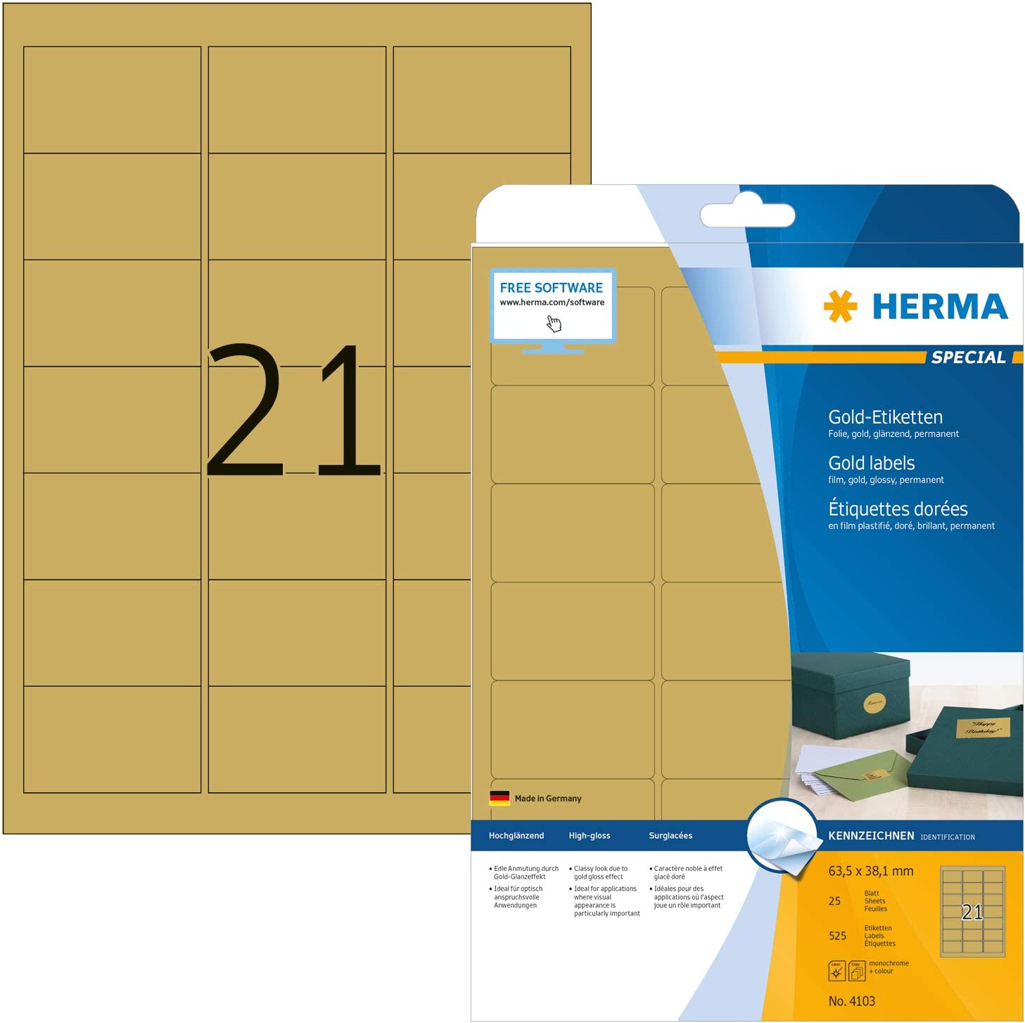 HERMA Folien-Etiketten SPECIAL, 63,5 x 38,1 mm, gold