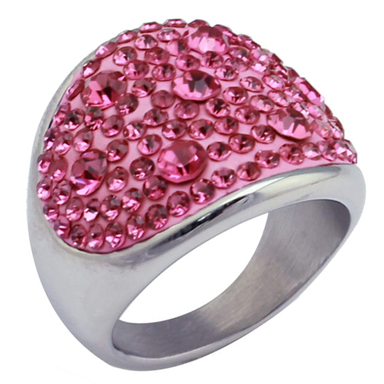 Aokarry Titanium Steel Women Rings Pink Cubic Zirconia Cluester Finger Bands