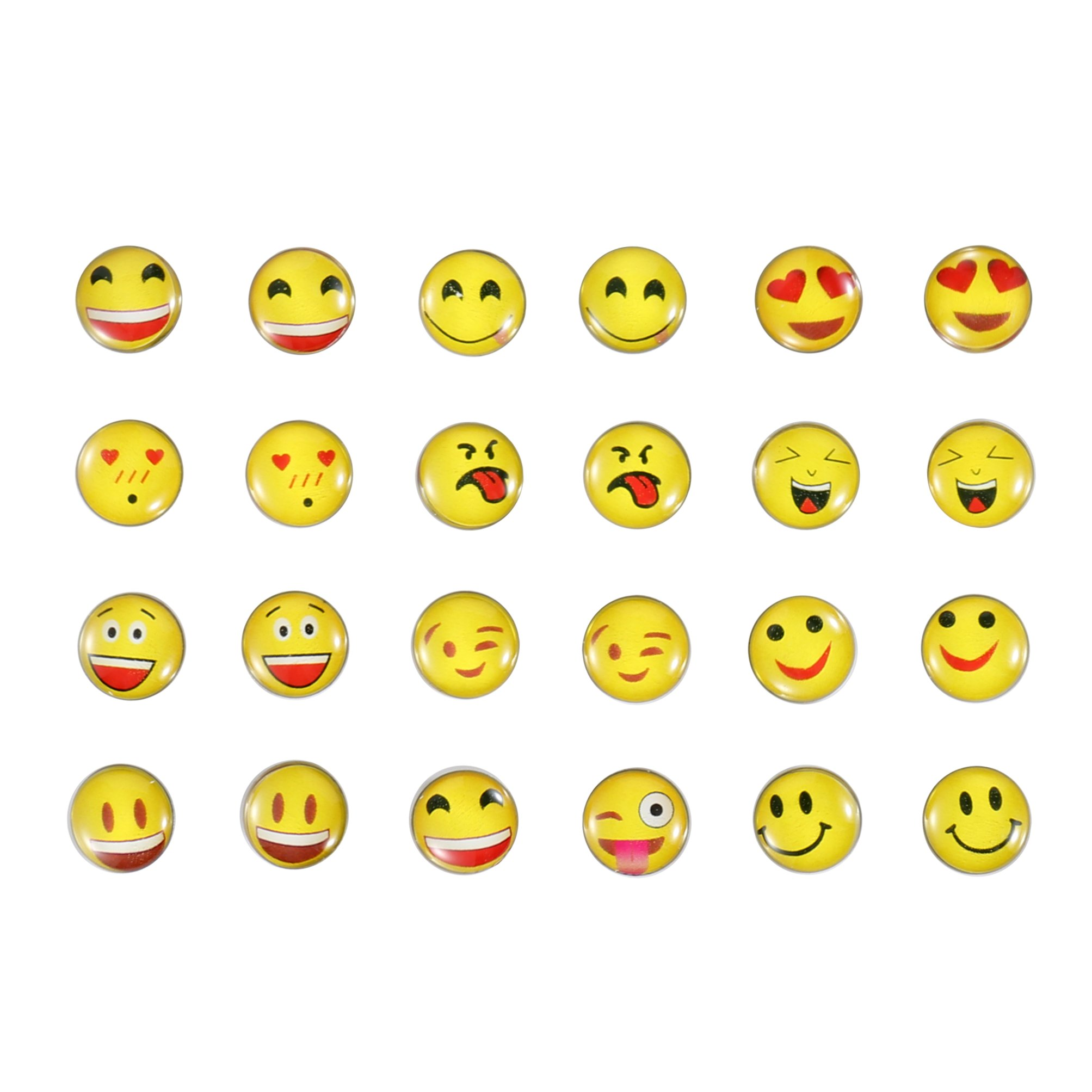 April Ya 12 Pairs Round Emoji Stud Earrings, Assorted Smiley Emoticon Earrings