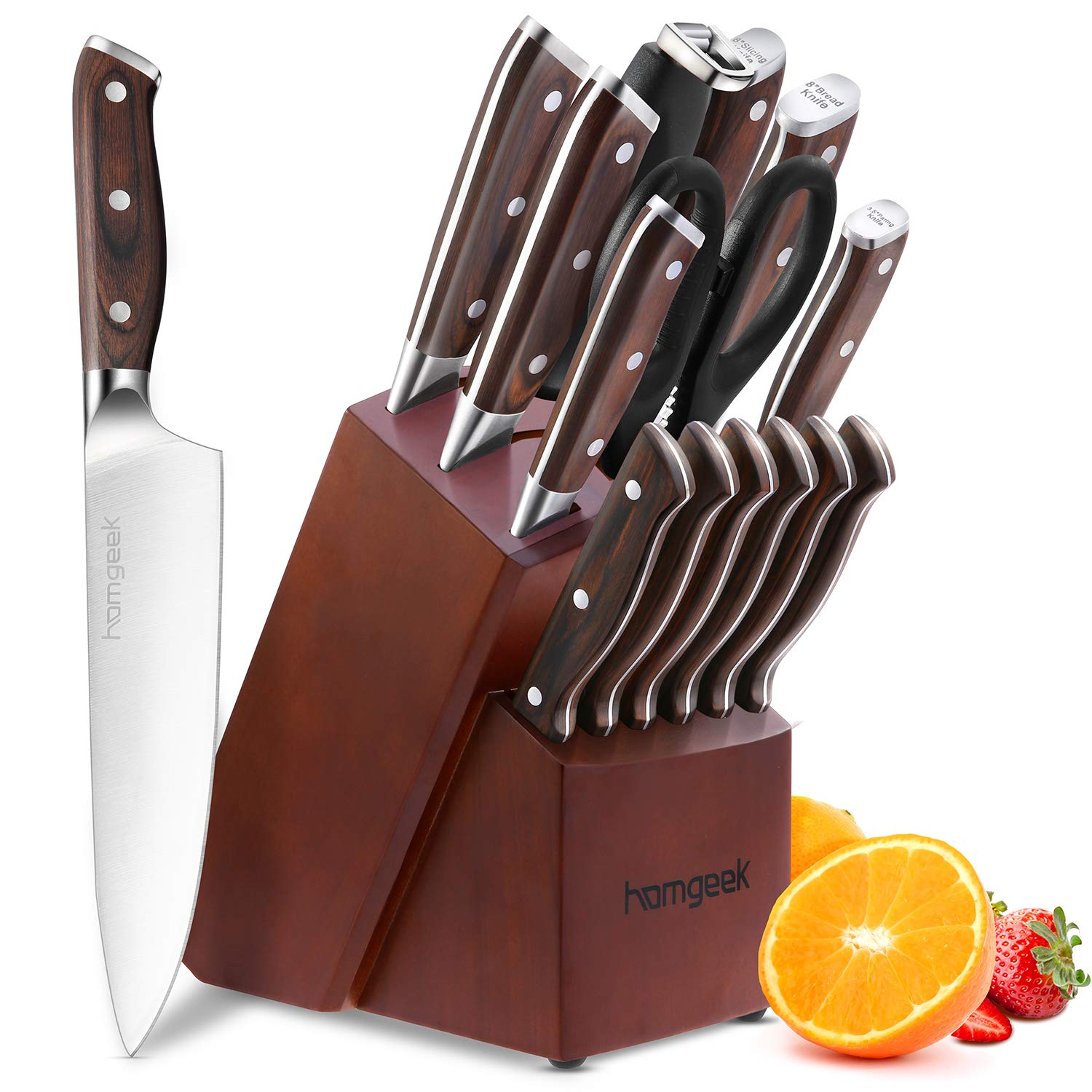 Chef Knife Set,15 Piece Knife set With Wooden Block,Wood Handle and German 1.4116 Stainless Steel,Full-Tang