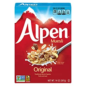 Alpen Original Muesli, Swiss Style Muesli Cereal, Whole Grain, Non-GMO Project Verified, Heart Healthy, Kosher, Vegan, 14 Oz Box