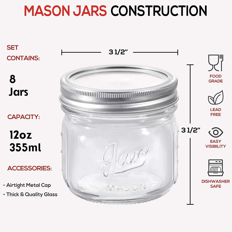 Wide Mouth Mason Jars 12 oz