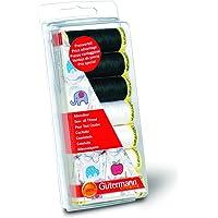 Gutermann Sew-All - Juego de Hilos de Costura (7 bobinas de 100 m, 100% poliéster), Color Negro y Blanco