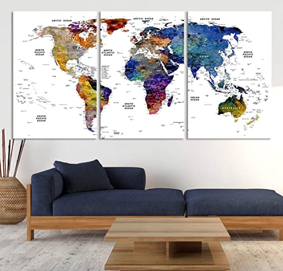 Detailed Watercolor World Map Wall Art