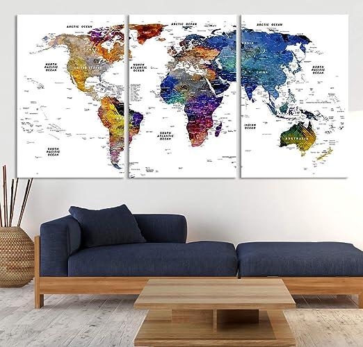 3 Piece Canvas World Map.Amazon Com Detailed Watercolor World Map Wall Art By Sami Eymur 3