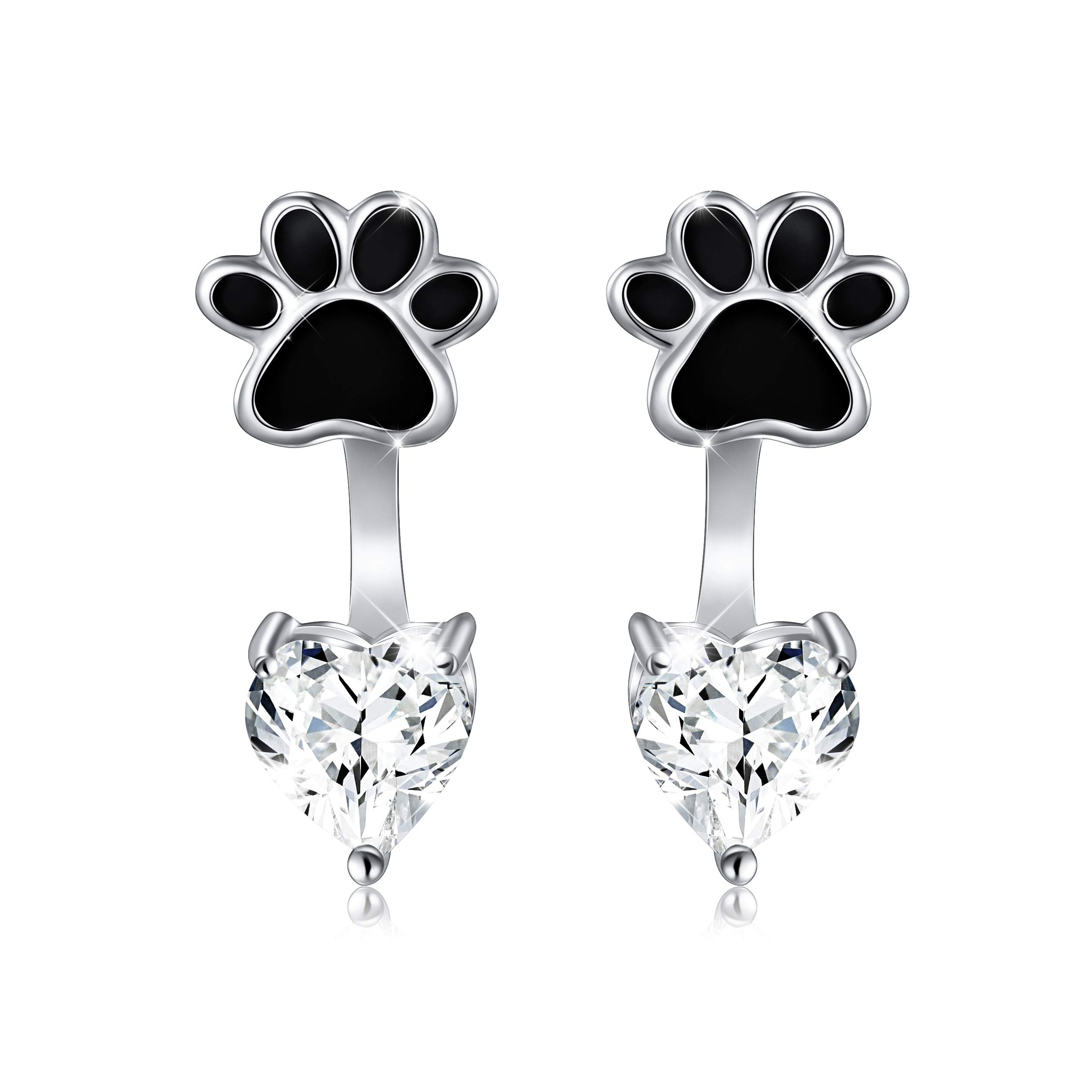 Sterling Silver Forever Love Front and Back Heart Stud Puppy Paw Earrings Jacket for Women Girls