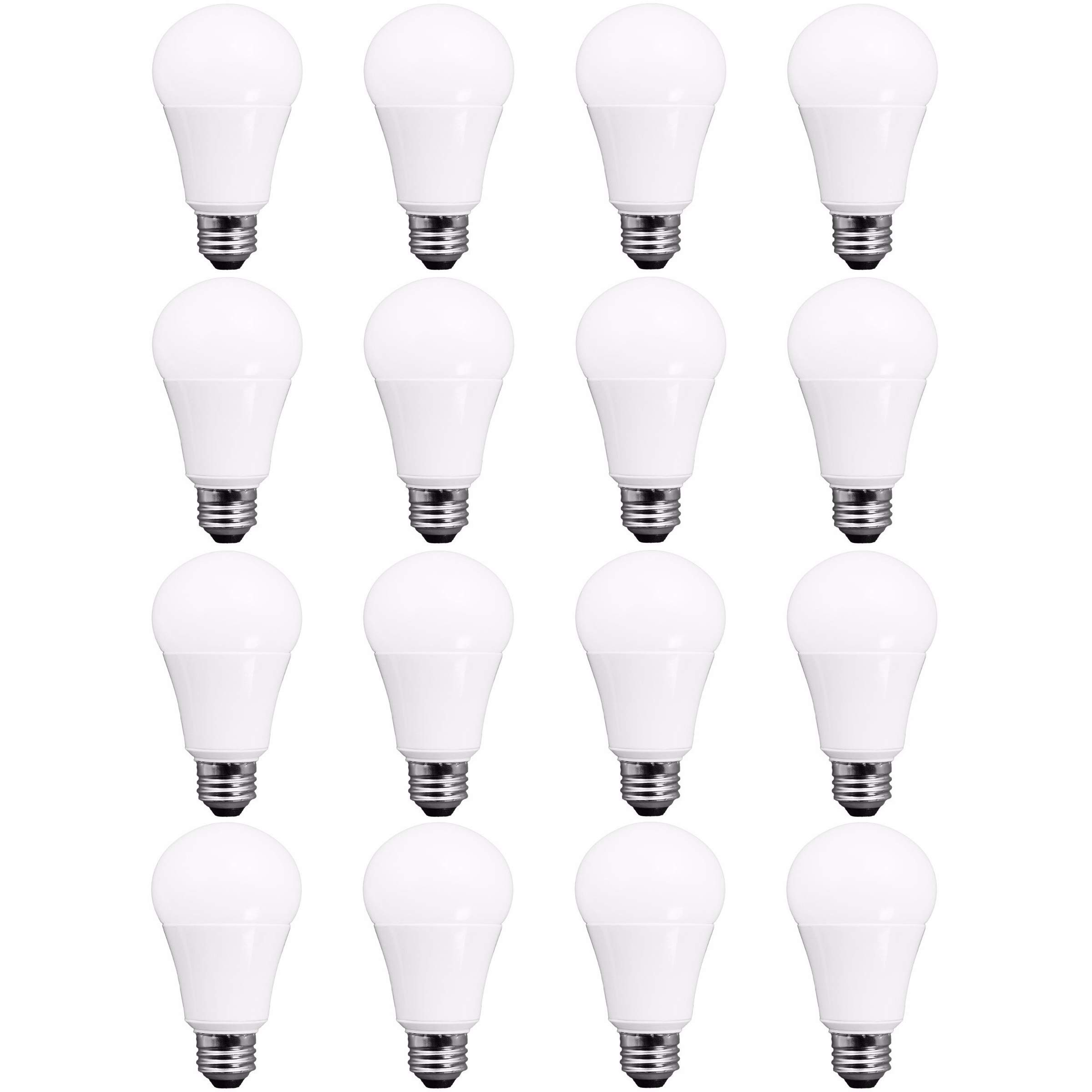 TCP RLVA6027ND16 60 Watt Equivalent LED Light Bulbs | Shatter Resistant 9W Energy Efficient | Non-Dimmable | A19 Shape E26 Medium Base, Pack of 16, Soft White, 16 Pack by TCP (Image #1)