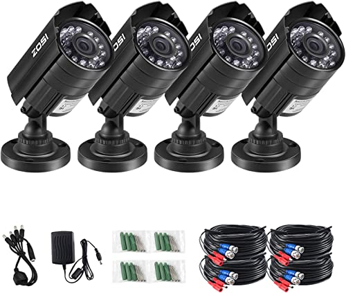 ZOSI 4 Pack 720P HD-TVI Security Bullet Cameras for Home Surveillance DVR System with 65ft Night Vision Automatic IR Function