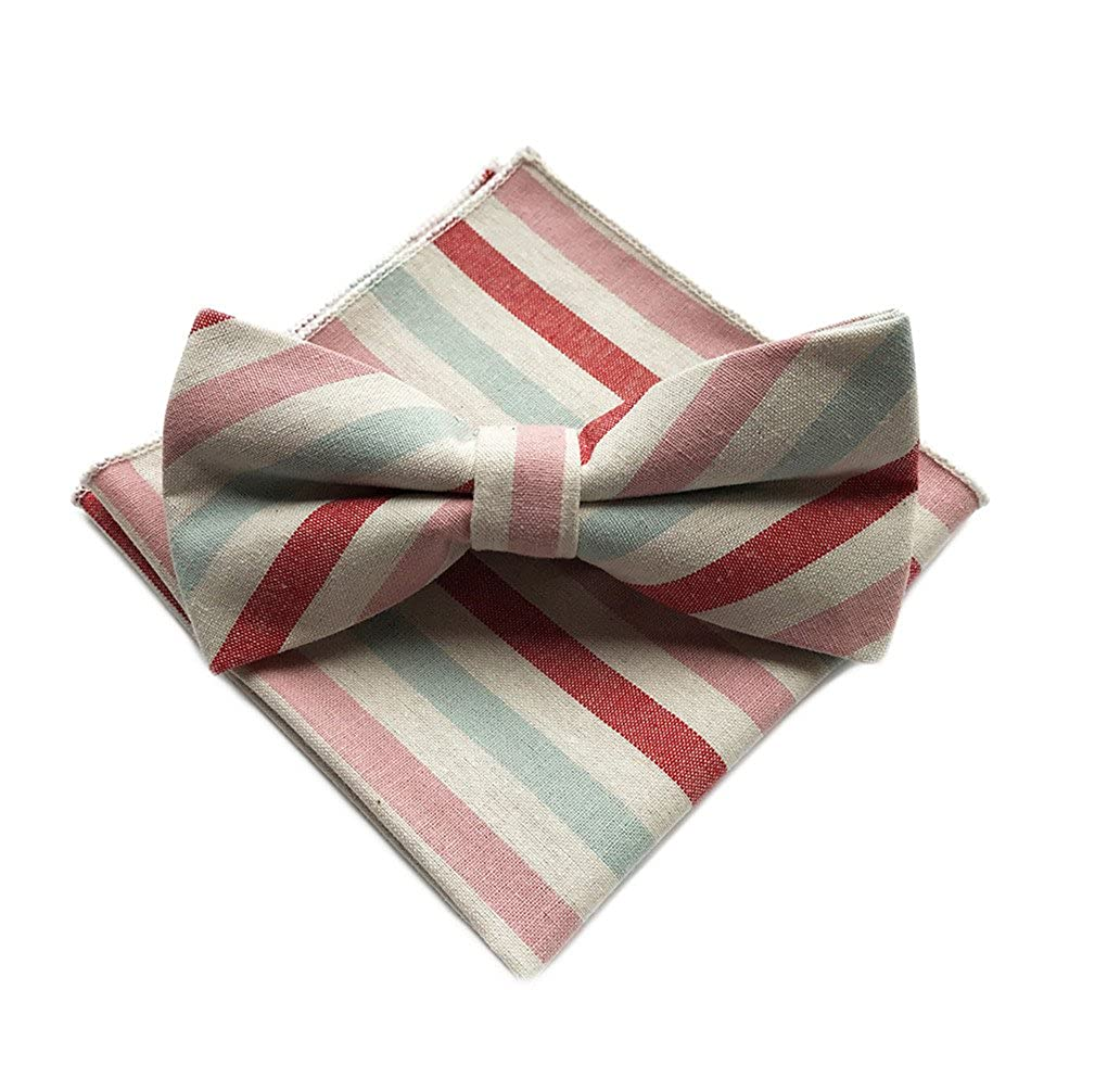 L04BABY Men Stripe Mixcolor Cotton Self Bow Tie Bowtie Pocket Square Handky Sets