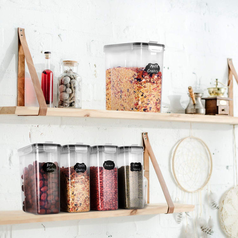 Se Utiliza para Almacenar Cereales Harina Juego de 4 Piezas de Recipiente de Botes Cocina Almacenaje de Pl/ástico de Alimentos Sellados con Tapa Etc GoMaihe 4L Botes Cocina Arroz Pasta
