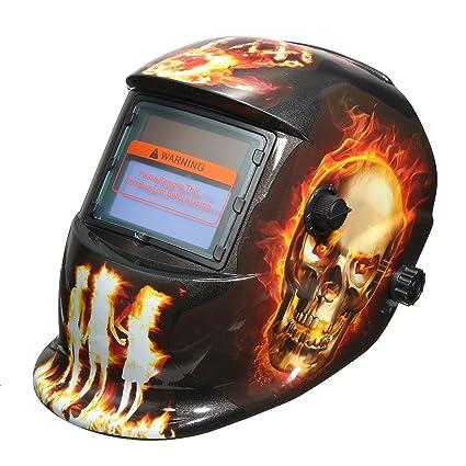 MASUNN Fuego Infernal Patrón Solar Auto Oscurecimiento Soldadura Casco Soldar Máscara Arco Mig TIG Rectificado con