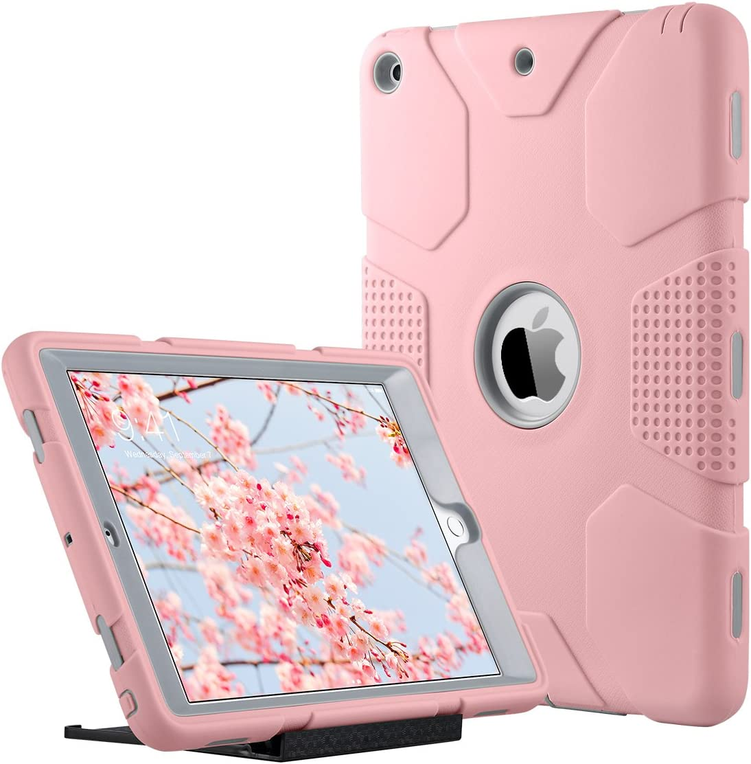 iPad 2017 9.7 inch Case, iPad Case 9 7 inches for Kids, ULAK Heavy Duty Shockproof Kidproof Protective Case Silicone PC Dual Layer Hybrid Cover, with Universal Kickstand-Rose Gold/Grey