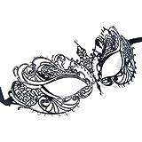 WINOMO Mascherata maschera veneziana donna taglio metallo per Halloween Costume Ball Party nero cristallo strass