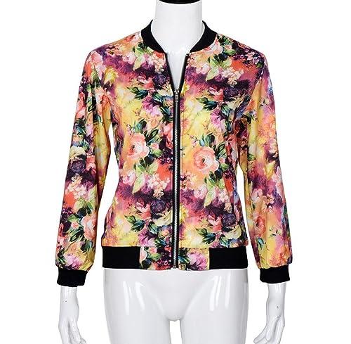 Internet Las mujeres destacan la chaqueta de bombardero impresa floral de la cremallera de la manga ...