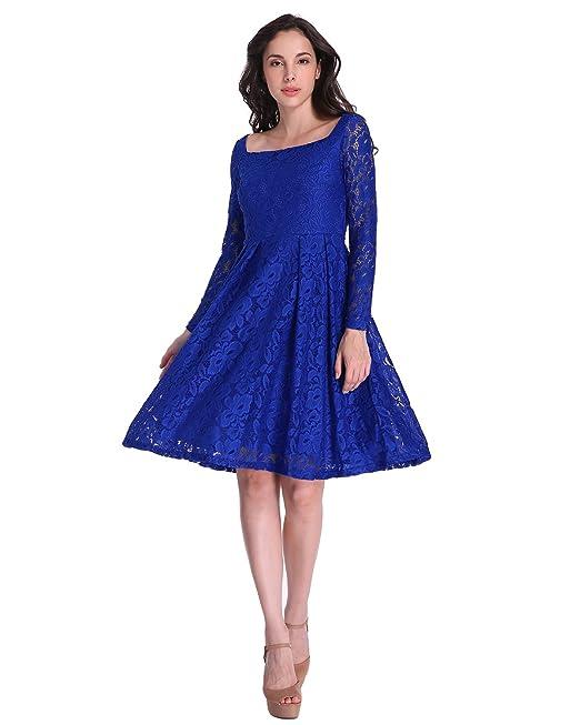 Auxo Mujer Vestidos Vintage de Fiesta Noche Cortos Novia Encaje Coctel Faldas Elegante Azul Royal ES