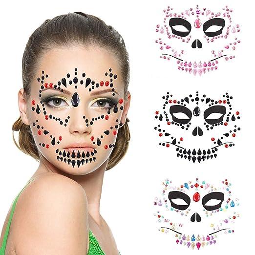 TOOGOO 4 Piezas Día de los Muertos Halloween Tatuajes Temporales ...