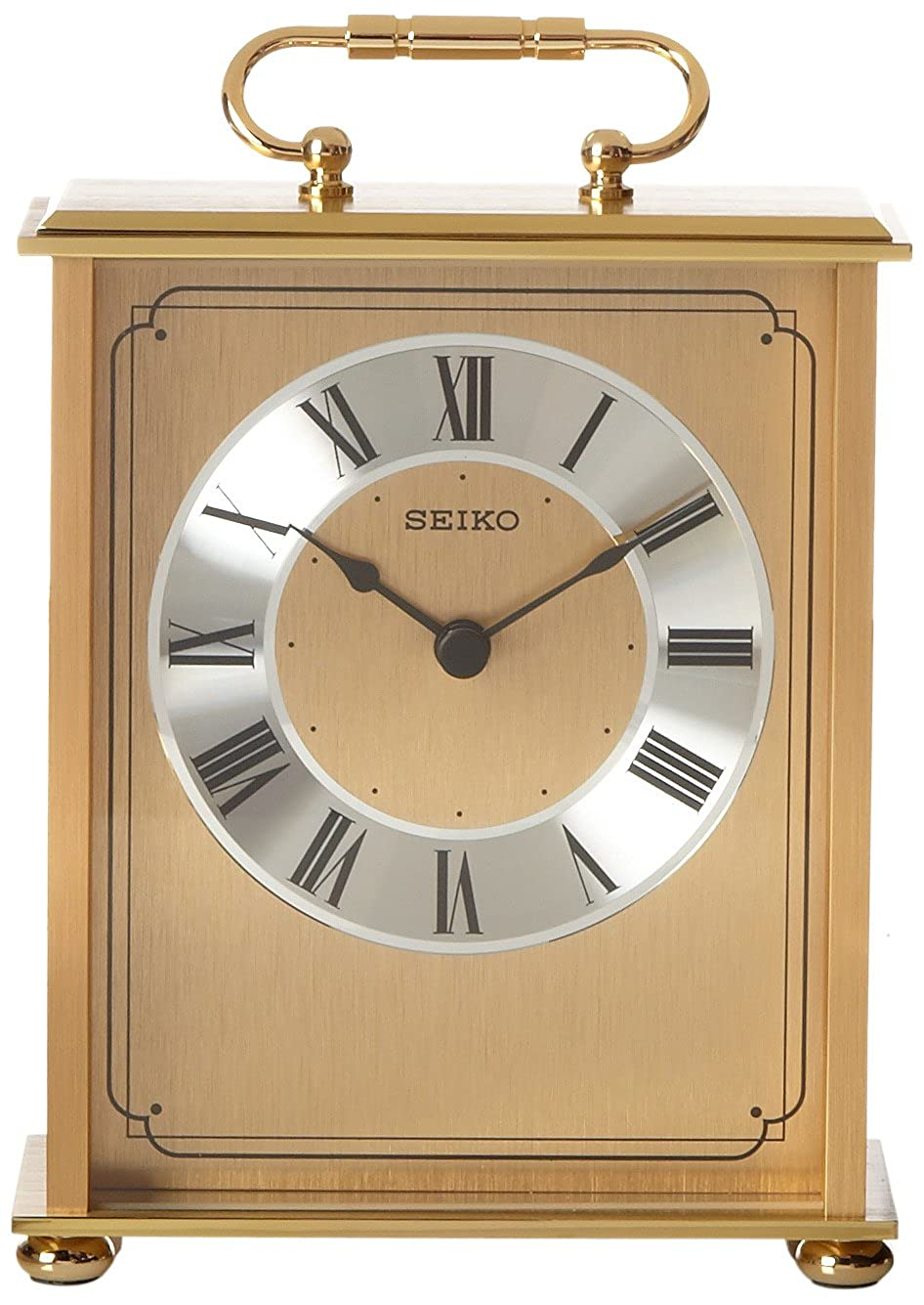 Seiko Desk and Table Carriage Clock Gold-Tone Solid Brass Base and Top QHG102GL