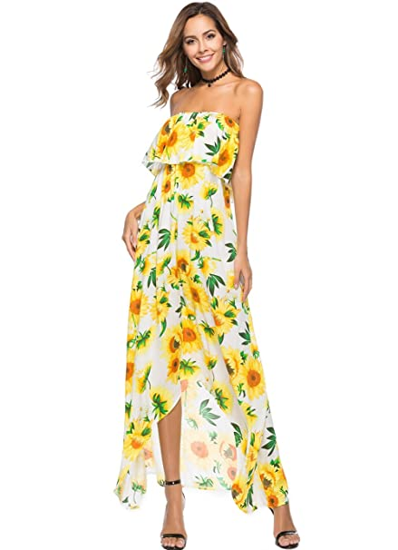 f592305270 Image Unavailable. Image not available for. Color  BestUp Womens Bohemian Strapless  Maxi Long Dress Boho ...
