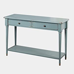 "The Mezzanine Shoppe Emilia Mid Century 2 Drawer Living Room Sofa Table, 47.75"", Antique Blue"