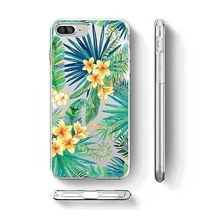 Para iPhone 7 Plus / iPhone 8 Plus Carcasa , YIGA Moda flor hojas verdes Transparente TPU Gel Cubierta De Silicona Suave Funda Caso Tapa Case Cover ...