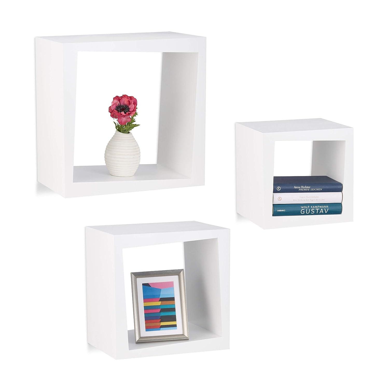 Relaxdays Wandregal 3er Set quadratisch 25cm Tiefe Bücher CDs DVDs Wohnzimmer Kinderzimmer Deko, weiß