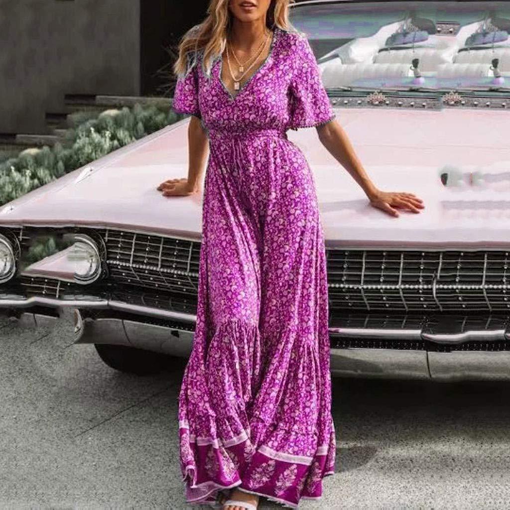 Serzul Women's Elegant Vintage Maxi Dress Short Sleeve Deep V-Neck Dress Print Tassel Buttons Dress Hot Pink by Serzul Women Dress (Image #1)