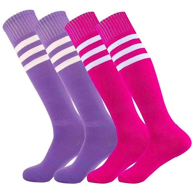 f9779c2e5477 Dodove Unisex Soccer Athletic Knee High Triple Stripe Tube Sock 2 4 6 Pairs