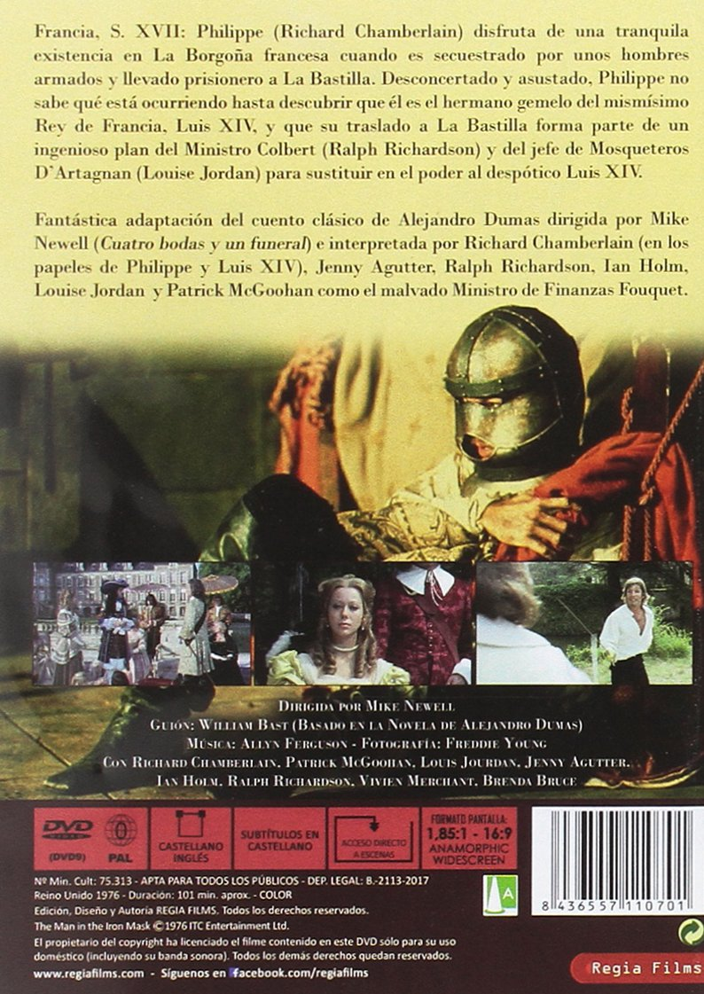 La máscara de hierro [DVD]: Amazon.es: Richard Chamberlain, Jenny Agutter, Ian Holm, Mike Newell: Cine y Series TV