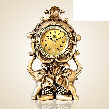 Relojes europeos relojes Reloj antiguo moda creativa salón lujo elefante adornos reloj de cuarzo reloj de péndulo-C: Amazon.es: Hogar